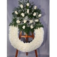 Corona Cabezal Rosas Blancas